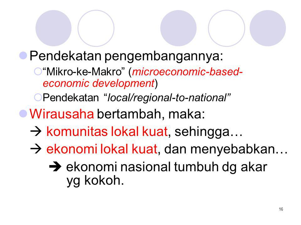 """16 Pendekatan pengembangannya:  """"Mikro-ke-Makro"""" (microeconomic-based- economic development)  Pendekatan """"local/regional-to-national"""" Wirausaha bert"""