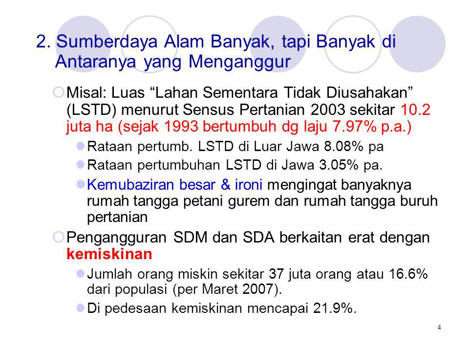 "4  Misal: Luas ""Lahan Sementara Tidak Diusahakan"" (LSTD) menurut Sensus Pertanian 2003 sekitar 10.2 juta ha (sejak 1993 bertumbuh dg laju 7.97% p.a.)"