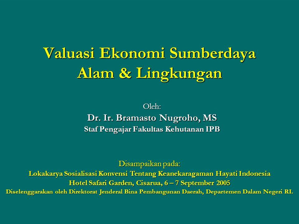 Valuasi Ekonomi Sumberdaya Alam & Lingkungan Oleh: Dr. Ir. Bramasto Nugroho, MS Staf Pengajar Fakultas Kehutanan IPB Disampaikan pada: Lokakarya Sosia