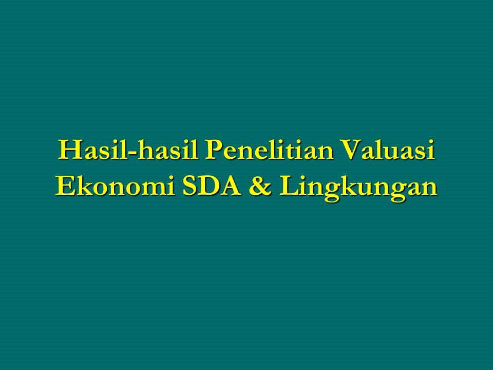 Hasil-hasil Penelitian Valuasi Ekonomi SDA & Lingkungan