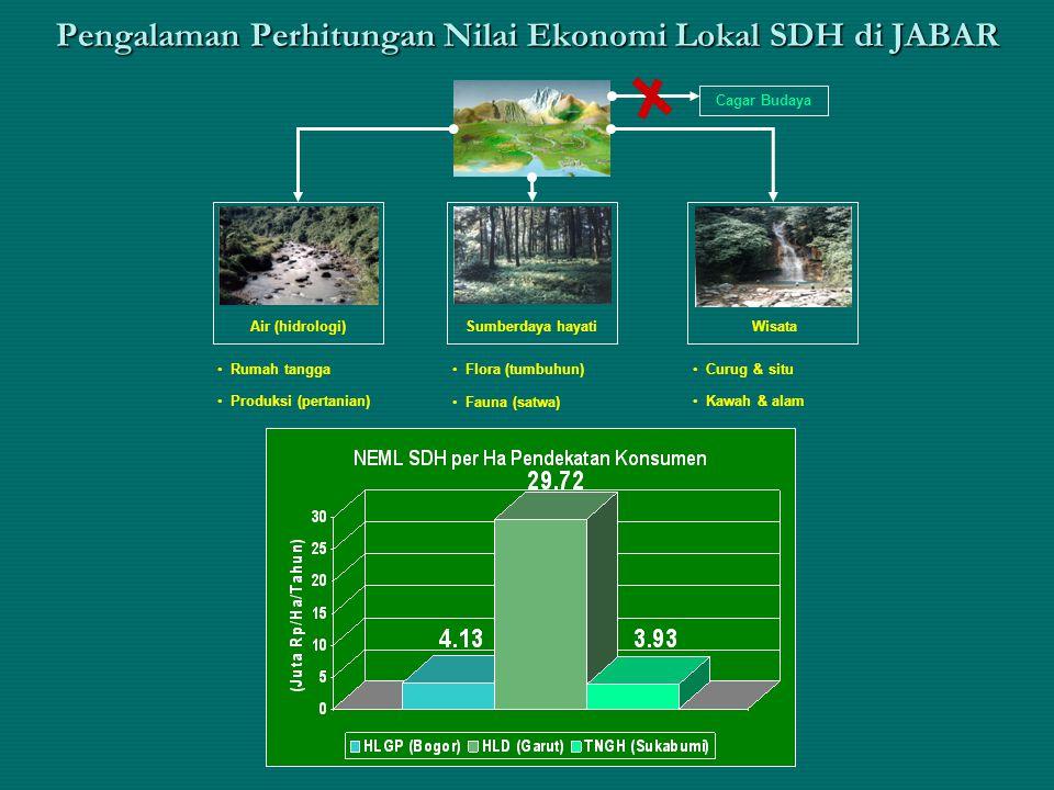 Pengalaman Perhitungan Nilai Ekonomi Lokal SDH di JABAR Air (hidrologi)WisataSumberdaya hayati Cagar Budaya Rumah tangga Produksi (pertanian) Flora (t