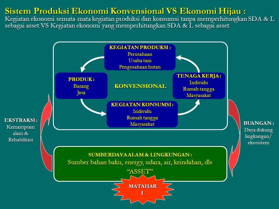 Peranan SDA & Lingkungan 3 peranan utama SDA & L sebagai pendukung kegiatan ekonomi : 1.Penyedia bahan baku 2.Penerima sisa produksi & konsumsi (limbah) 3.Penyangga kehidupan Implikasi : 1.Tanpa SDA & L sistem ekonomi tidak berjalan 2.Pembangunan ekonomi harus berkelanjutan & ramah lingkungan (intergenerational & intragenerational equity 2.Pembangunan ekonomi harus berkelanjutan & ramah lingkungan (intergenerational & intragenerational equity) 3.Manfaat (benefits) melibihi korbanan/biaya (costs) untuk kesejahteraan umat manusia dan menguntungkan semua pihak, tanpa satupun dirugikan (pareto efficient)