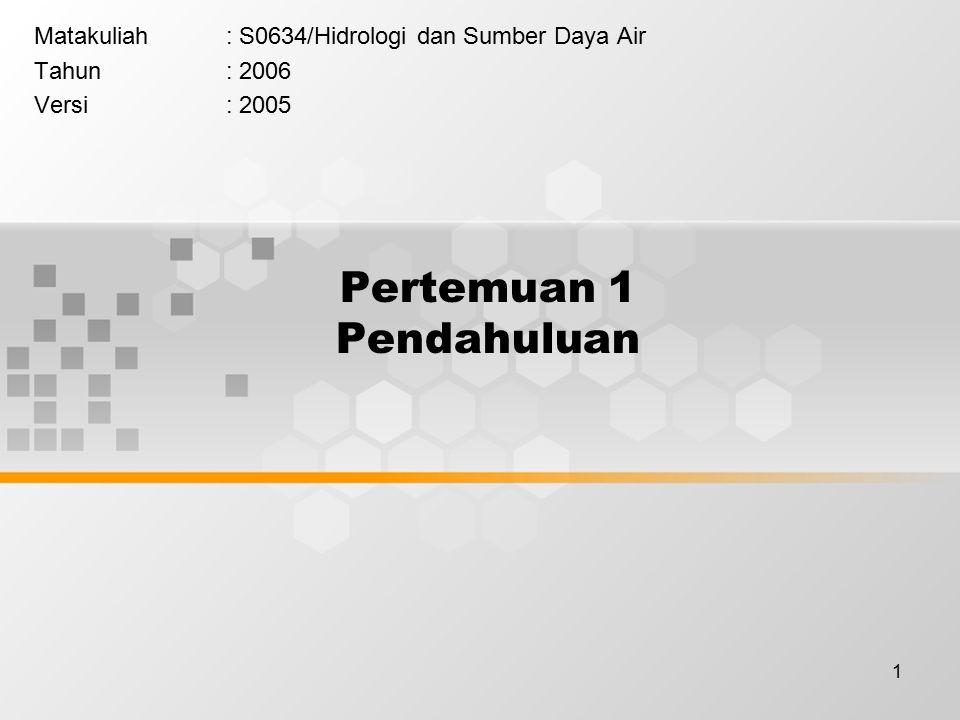 1 Pertemuan 1 Pendahuluan Matakuliah: S0634/Hidrologi dan Sumber Daya Air Tahun: 2006 Versi: 2005