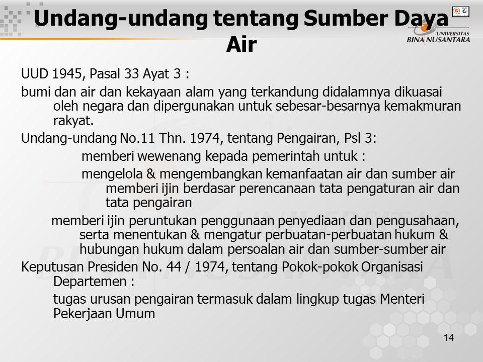 14 Undang-undang tentang Sumber Daya Air UUD 1945, Pasal 33 Ayat 3 : bumi dan air dan kekayaan alam yang terkandung didalamnya dikuasai oleh negara dan dipergunakan untuk sebesar-besarnya kemakmuran rakyat.