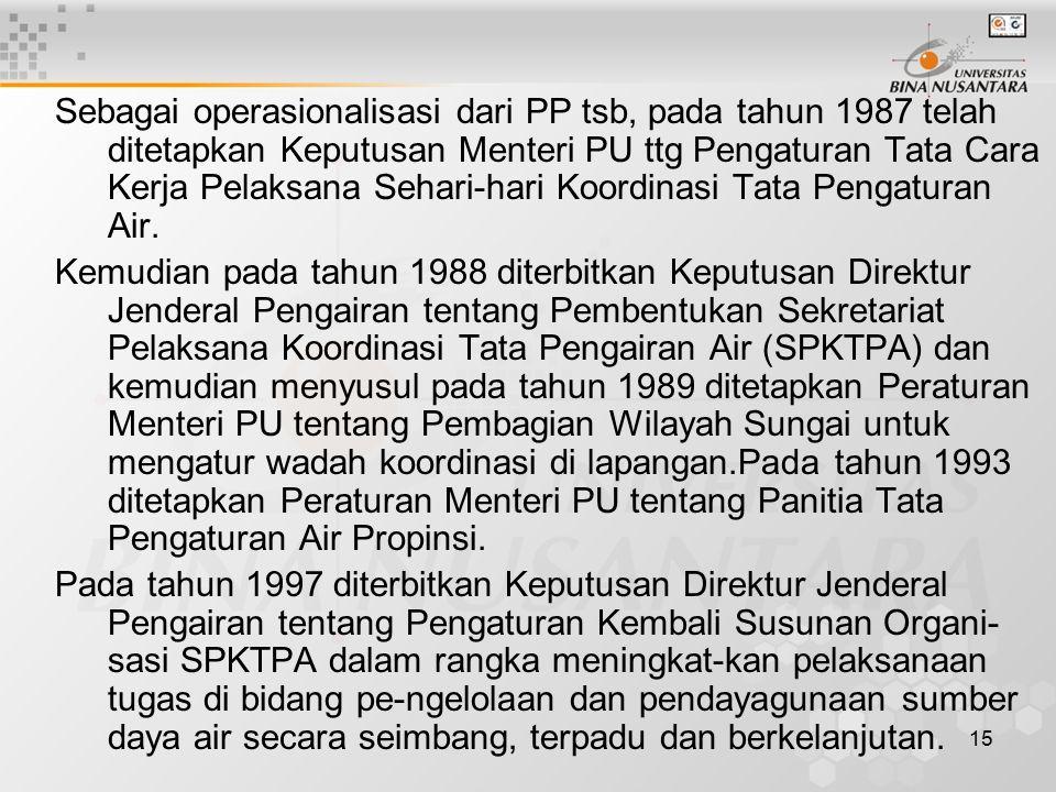 15 Sebagai operasionalisasi dari PP tsb, pada tahun 1987 telah ditetapkan Keputusan Menteri PU ttg Pengaturan Tata Cara Kerja Pelaksana Sehari-hari Ko