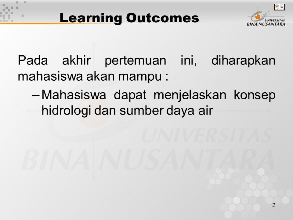 2 Learning Outcomes Pada akhir pertemuan ini, diharapkan mahasiswa akan mampu : –Mahasiswa dapat menjelaskan konsep hidrologi dan sumber daya air