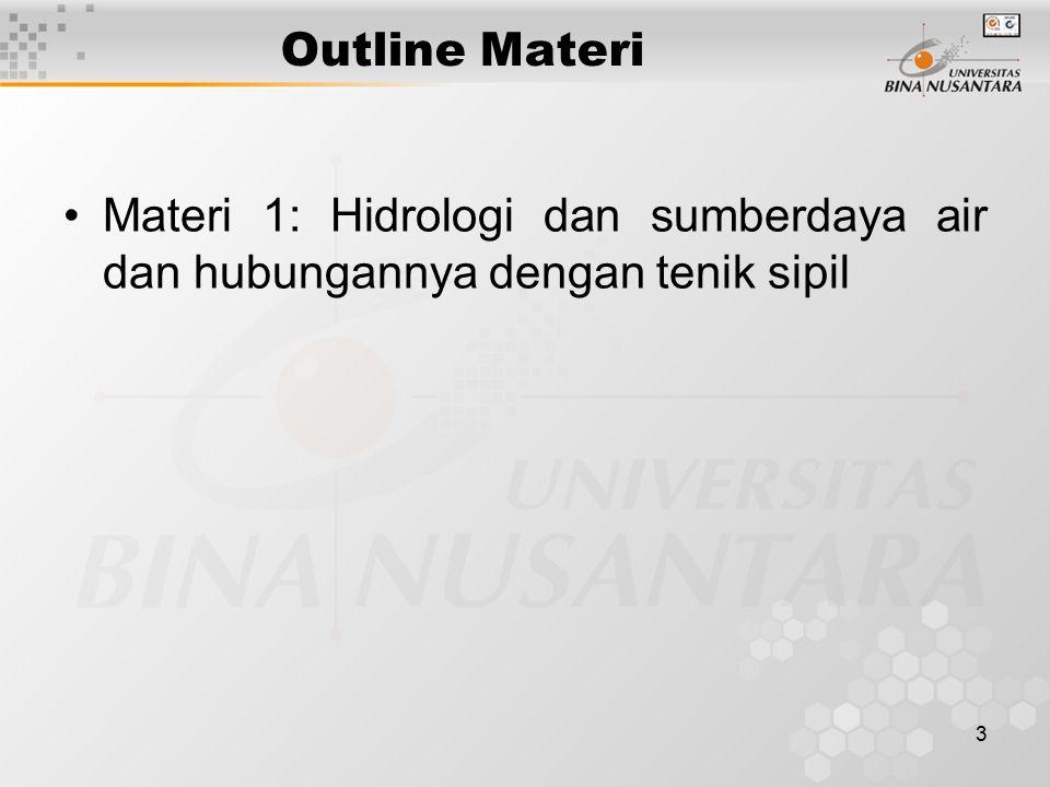 3 Outline Materi Materi 1: Hidrologi dan sumberdaya air dan hubungannya dengan tenik sipil