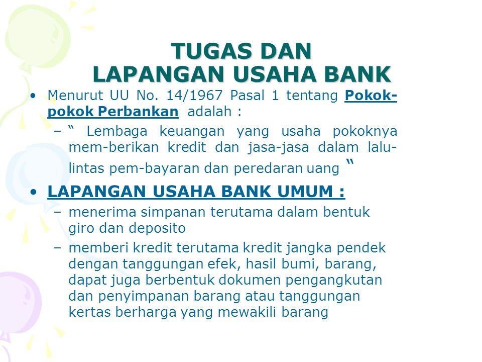 "TUGAS DAN LAPANGAN USAHA BANK Menurut UU No. 14/1967 Pasal 1 tentang Pokok- pokok Perbankan adalah : –"" Lembaga keuangan yang usaha pokoknya mem-berik"