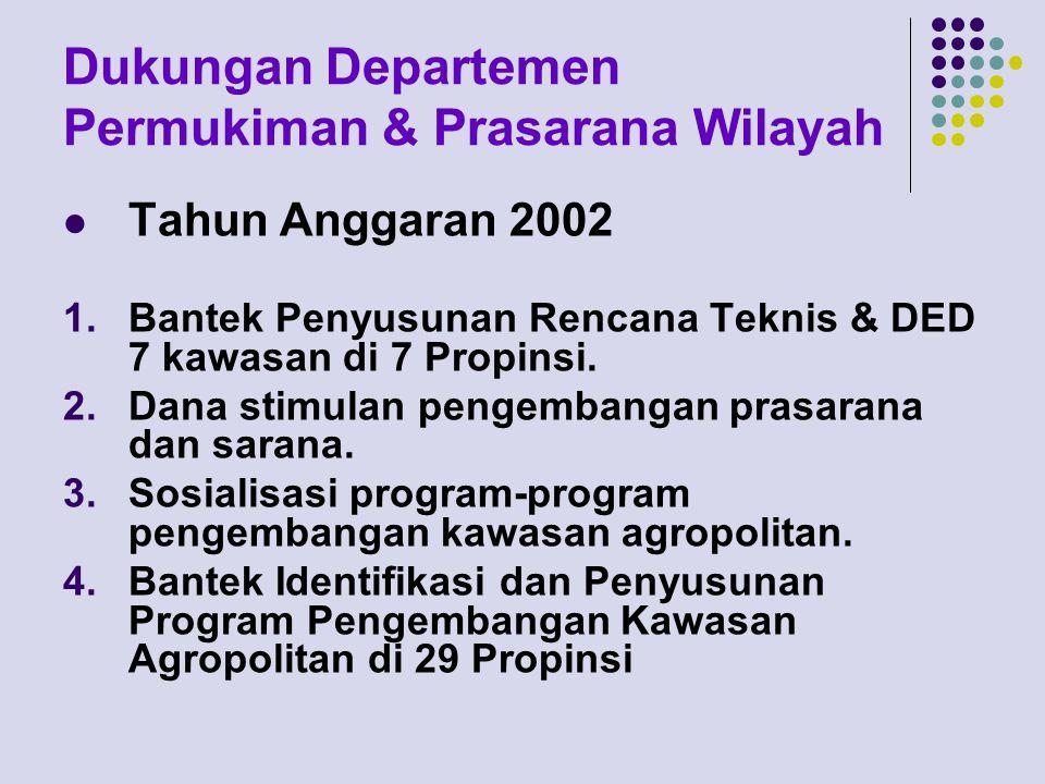 Dukungan Departemen Permukiman & Prasarana Wilayah Tahun Anggaran 2002 1.Bantek Penyusunan Rencana Teknis & DED 7 kawasan di 7 Propinsi. 2.Dana stimul