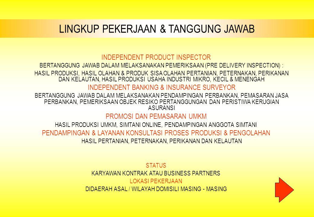 LINGKUP PEKERJAAN & TANGGUNG JAWAB INDEPENDENT PRODUCT INSPECTOR BERTANGGUNG JAWAB DALAM MELAKSANAKAN PEMERIKSAAN (PRE DELIVERY INSPECTION) : HASIL PR