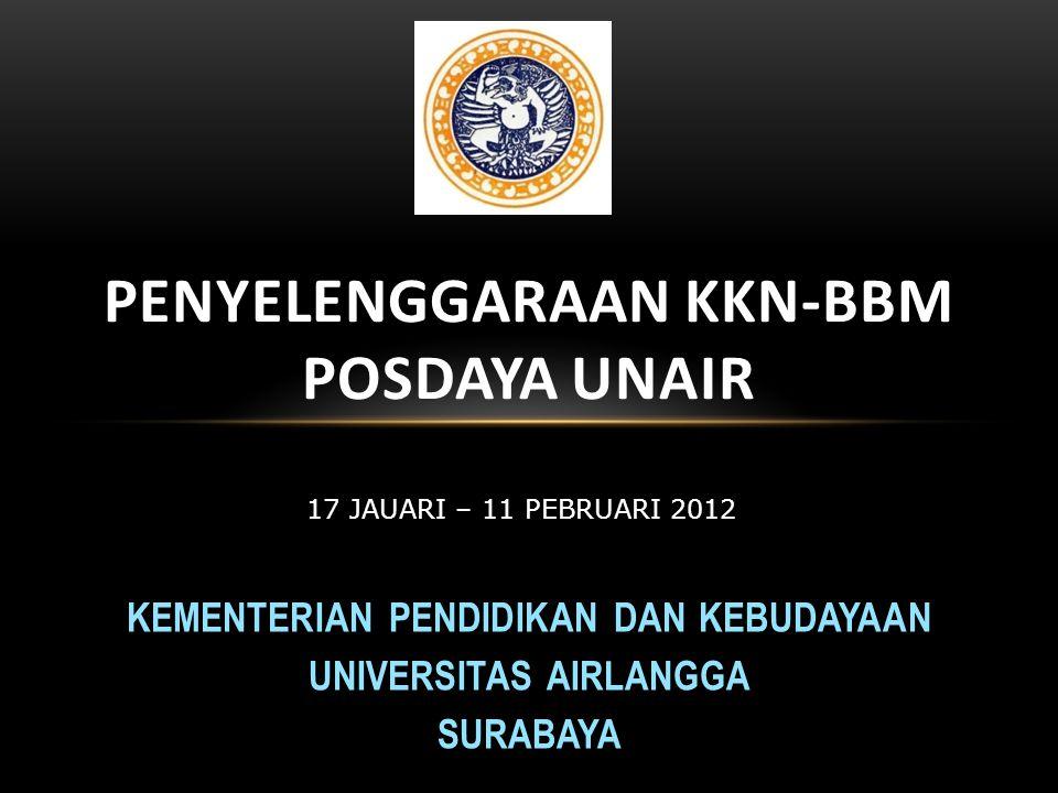 KEMENTERIAN PENDIDIKAN DAN KEBUDAYAAN UNIVERSITAS AIRLANGGA SURABAYA PENYELENGGARAAN KKN-BBM POSDAYA UNAIR 17 JAUARI – 11 PEBRUARI 2012