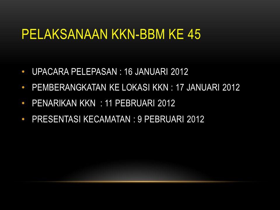 PELAKSANAAN KKN-BBM KE 45 UPACARA PELEPASAN : 16 JANUARI 2012 PEMBERANGKATAN KE LOKASI KKN : 17 JANUARI 2012 PENARIKAN KKN : 11 PEBRUARI 2012 PRESENTA