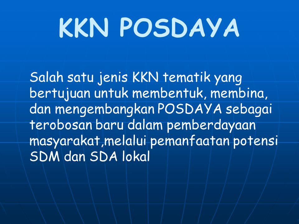 KKN POSDAYA Salah satu jenis KKN tematik yang bertujuan untuk membentuk, membina, dan mengembangkan POSDAYA sebagai terobosan baru dalam pemberdayaan