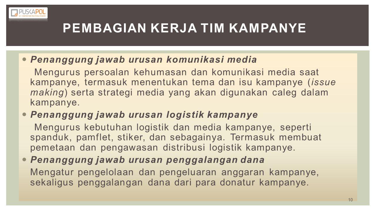 PEMBAGIAN KERJA TIM KAMPANYE Penanggung jawab urusan komunikasi media Mengurus persoalan kehumasan dan komunikasi media saat kampanye, termasuk menentukan tema dan isu kampanye (issue making) serta strategi media yang akan digunakan caleg dalam kampanye.