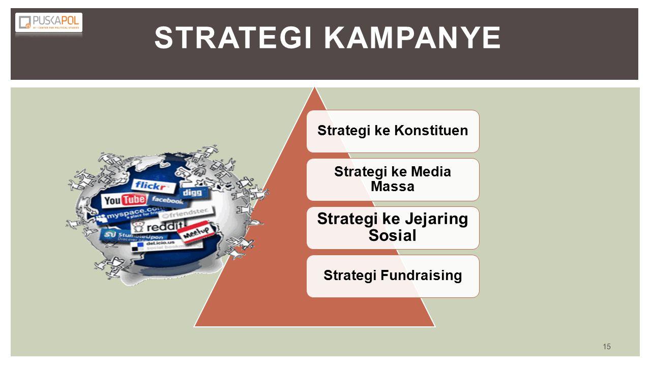 STRATEGI KAMPANYE Strategi ke Konstituen Strategi ke Media Massa Strategi ke Jejaring Sosial Strategi Fundraising 15