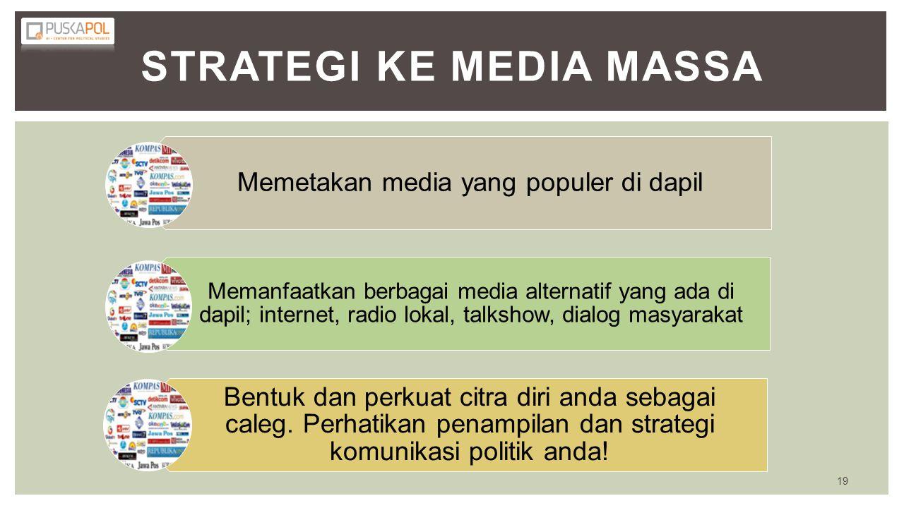 STRATEGI KE MEDIA MASSA Memetakan media yang populer di dapil Memanfaatkan berbagai media alternatif yang ada di dapil; internet, radio lokal, talkshow, dialog masyarakat Bentuk dan perkuat citra diri anda sebagai caleg.