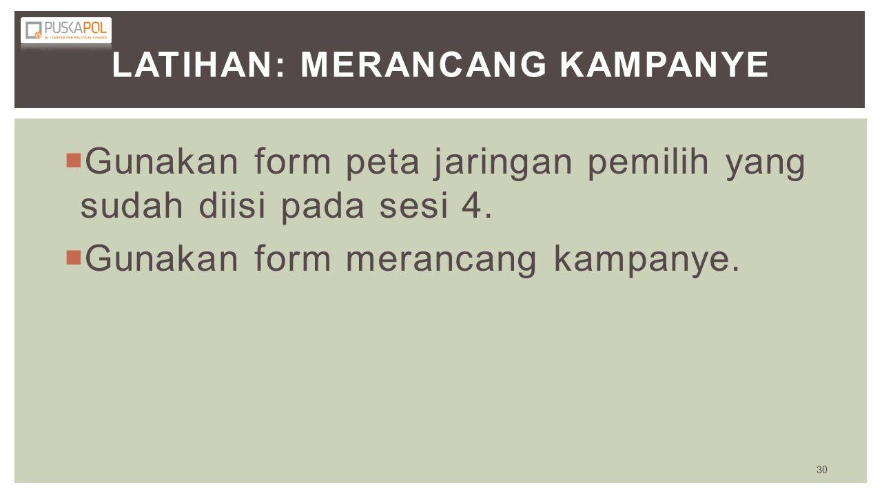 LATIHAN: MERANCANG KAMPANYE  Gunakan form peta jaringan pemilih yang sudah diisi pada sesi 4.