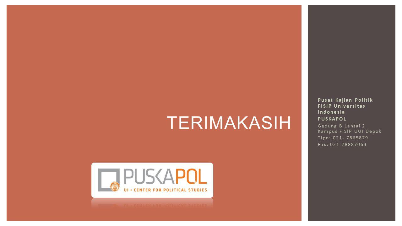 Pusat Kajian Politik FISIP Universitas Indonesia PUSKAPOL Gedung B Lantai 2 Kampus FISIP UUI Depok Tlpn: 021- 7865879 Fax: 021-78887063 TERIMAKASIH