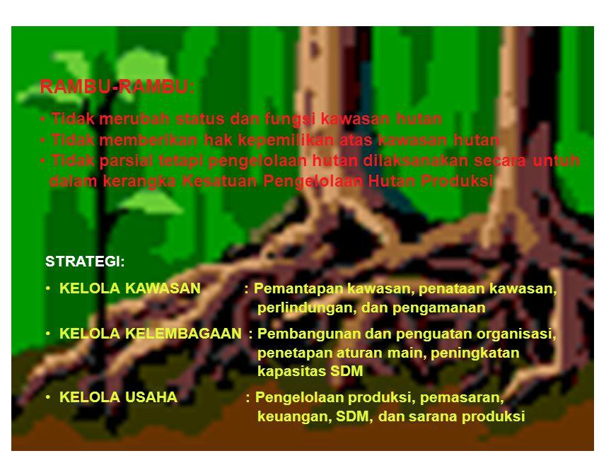 STRATEGI: KELOLA KAWASAN : Pemantapan kawasan, penataan kawasan, perlindungan, dan pengamanan KELOLA KELEMBAGAAN : Pembangunan dan penguatan organisasi, penetapan aturan main, peningkatan kapasitas SDM KELOLA USAHA : Pengelolaan produksi, pemasaran, keuangan, SDM, dan sarana produksi RAMBU-RAMBU: Tidak merubah status dan fungsi kawasan hutan Tidak memberikan hak kepemilikan atas kawasan hutan Tidak parsial tetapi pengelolaan hutan dilaksanakan secara untuh dalam kerangka Kesatuan Pengelolaan Hutan Produksi