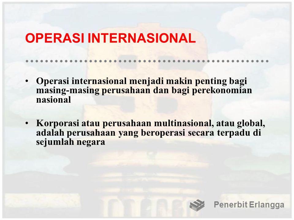 OPERASI INTERNASIONAL Operasi internasional menjadi makin penting bagi masing-masing perusahaan dan bagi perekonomian nasional Korporasi atau perusaha