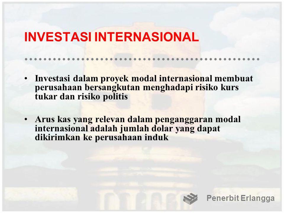 INVESTASI INTERNASIONAL Investasi dalam proyek modal internasional membuat perusahaan bersangkutan menghadapi risiko kurs tukar dan risiko politis Aru