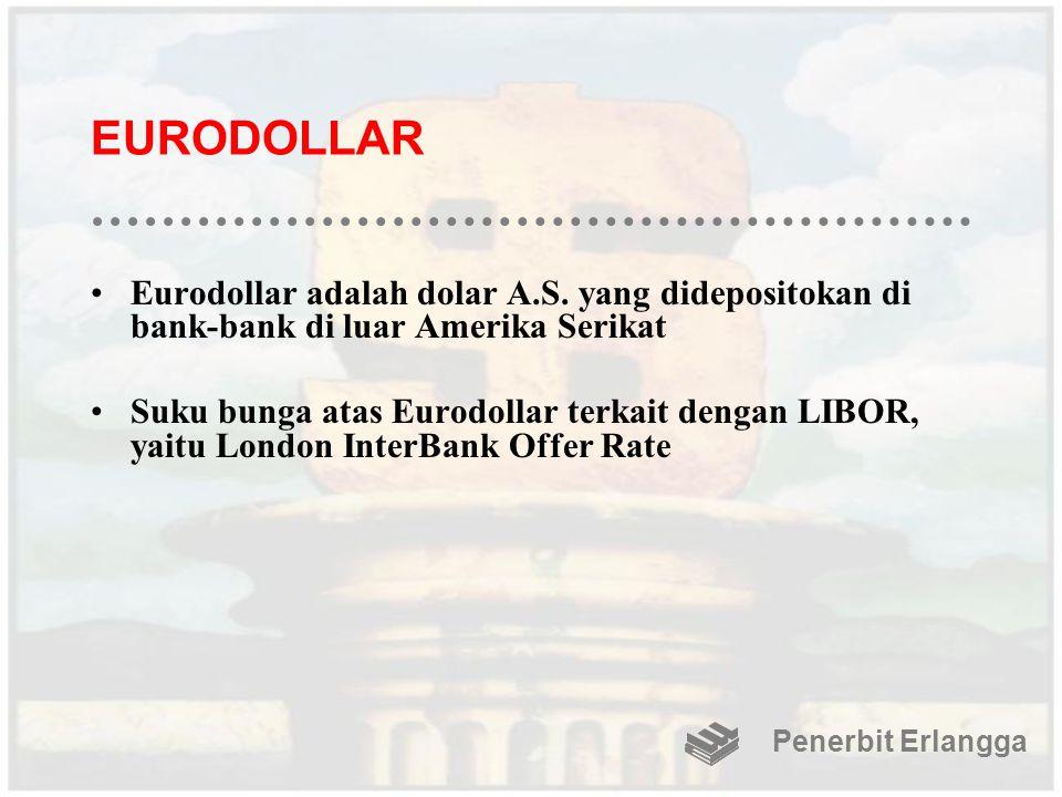 EURODOLLAR Eurodollar adalah dolar A.S. yang didepositokan di bank-bank di luar Amerika Serikat Suku bunga atas Eurodollar terkait dengan LIBOR, yaitu