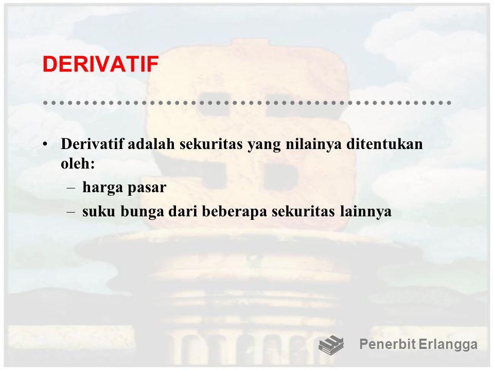 DERIVATIF Derivatif adalah sekuritas yang nilainya ditentukan oleh: –harga pasar –suku bunga dari beberapa sekuritas lainnya Penerbit Erlangga