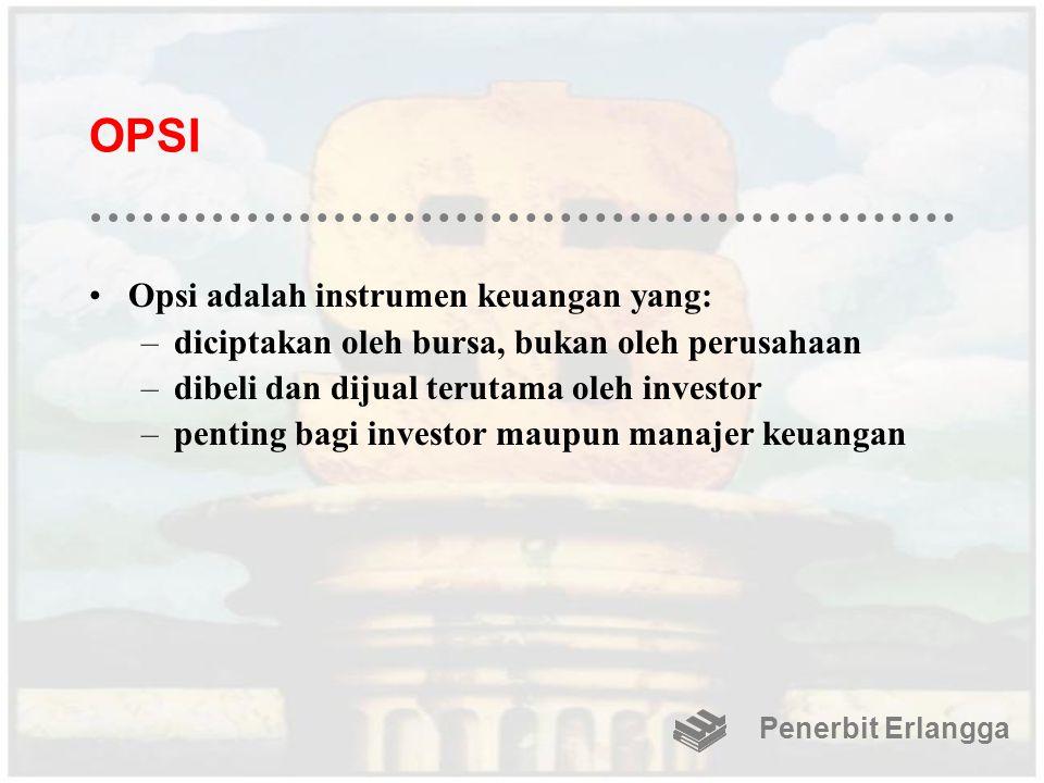 OPSI Opsi adalah instrumen keuangan yang: –diciptakan oleh bursa, bukan oleh perusahaan –dibeli dan dijual terutama oleh investor –penting bagi invest