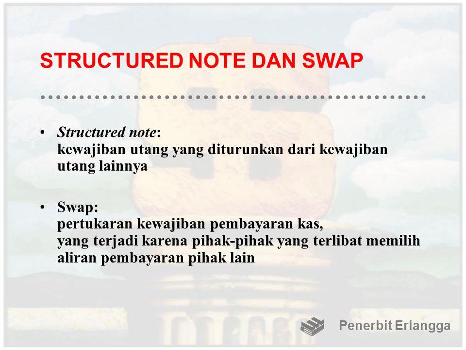 STRUCTURED NOTE DAN SWAP Structured note: kewajiban utang yang diturunkan dari kewajiban utang lainnya Swap: pertukaran kewajiban pembayaran kas, yang