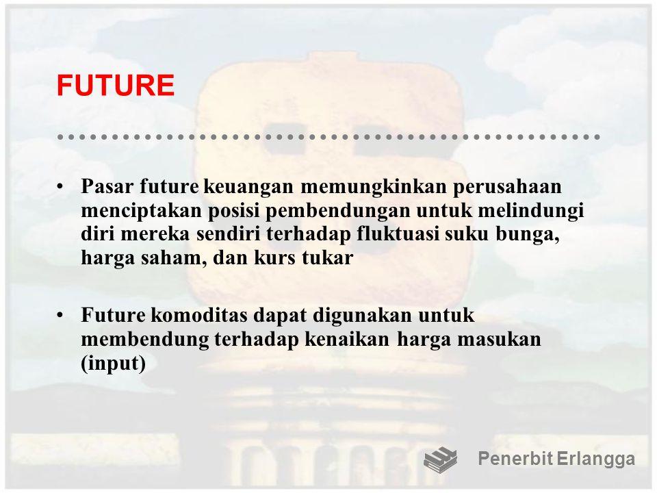 FUTURE Pasar future keuangan memungkinkan perusahaan menciptakan posisi pembendungan untuk melindungi diri mereka sendiri terhadap fluktuasi suku bung
