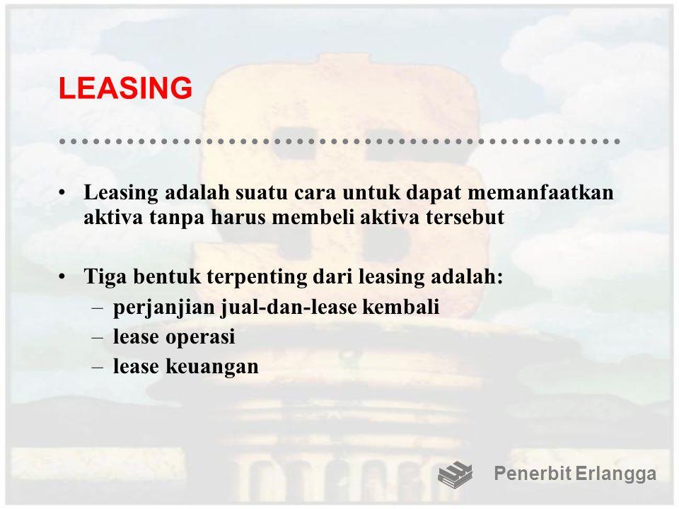 LEASING Leasing adalah suatu cara untuk dapat memanfaatkan aktiva tanpa harus membeli aktiva tersebut Tiga bentuk terpenting dari leasing adalah: –per