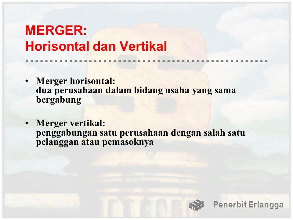 MERGER: Horisontal dan Vertikal Merger horisontal: dua perusahaan dalam bidang usaha yang sama bergabung Merger vertikal: penggabungan satu perusahaan