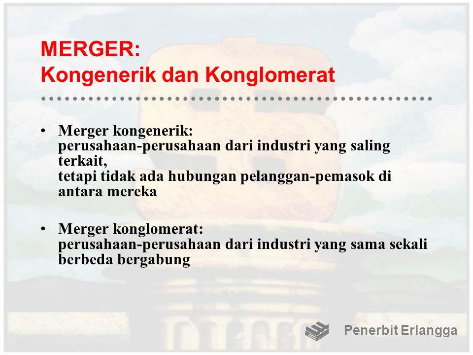 MERGER: Kongenerik dan Konglomerat Merger kongenerik: perusahaan-perusahaan dari industri yang saling terkait, tetapi tidak ada hubungan pelanggan-pem