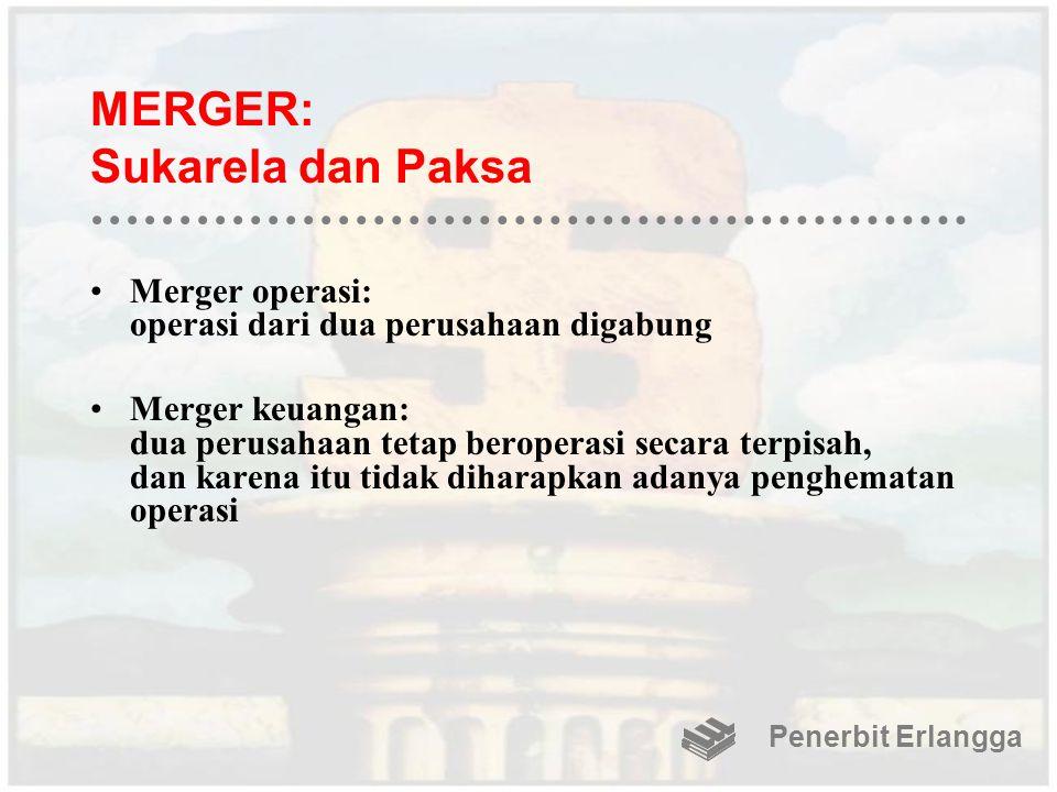 MERGER: Sukarela dan Paksa Merger operasi: operasi dari dua perusahaan digabung Merger keuangan: dua perusahaan tetap beroperasi secara terpisah, dan