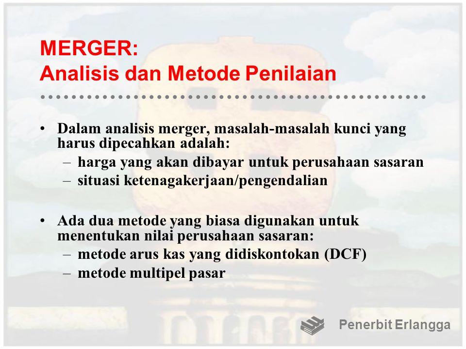 MERGER: Analisis dan Metode Penilaian Dalam analisis merger, masalah-masalah kunci yang harus dipecahkan adalah: –harga yang akan dibayar untuk perusa
