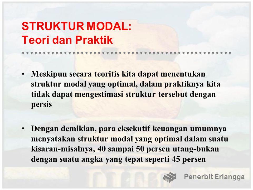 STRUKTUR MODAL: Teori dan Praktik Meskipun secara teoritis kita dapat menentukan struktur modal yang optimal, dalam praktiknya kita tidak dapat menges