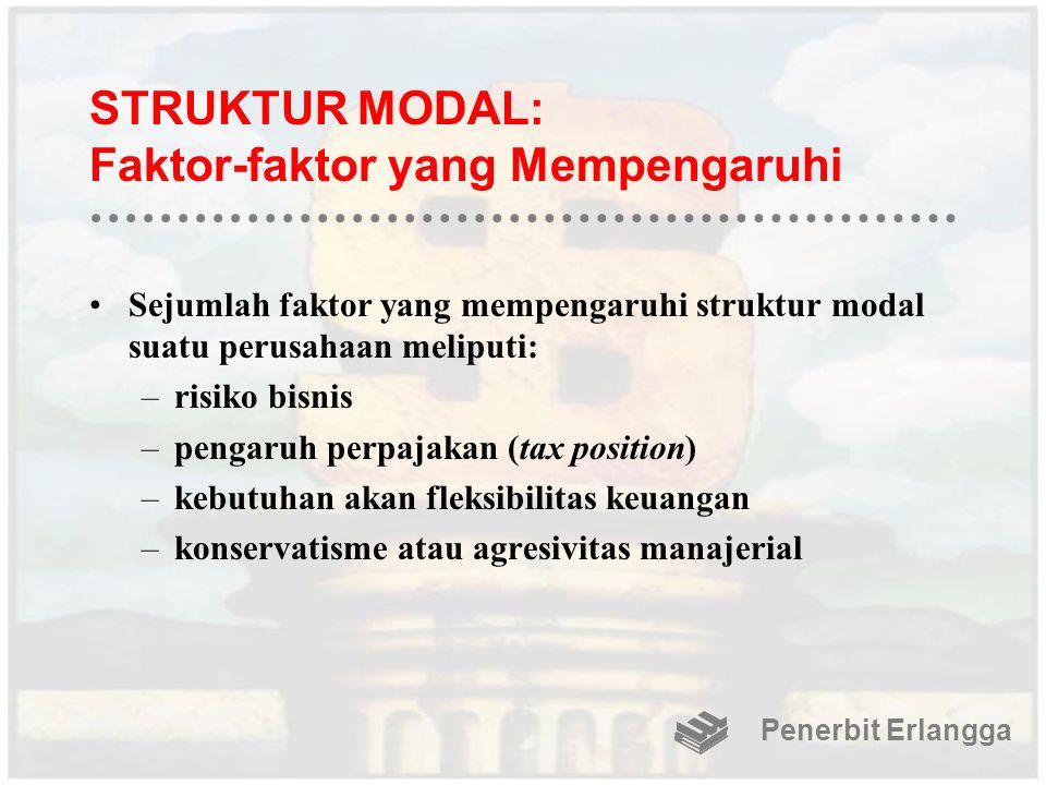 STRUKTUR MODAL: Faktor-faktor yang Mempengaruhi Sejumlah faktor yang mempengaruhi struktur modal suatu perusahaan meliputi: –risiko bisnis –pengaruh p