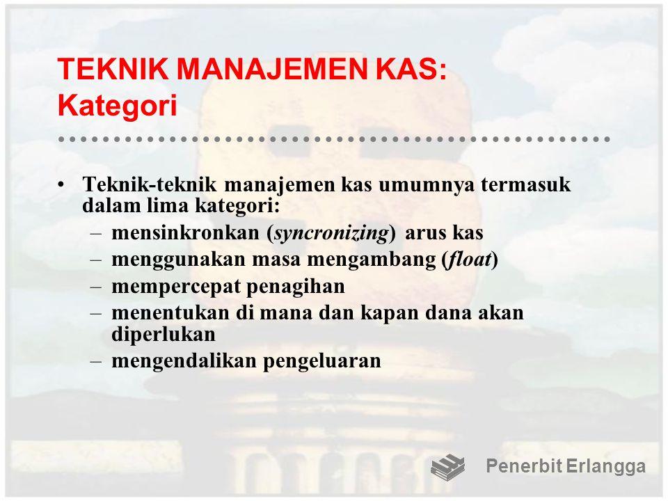 TEKNIK MANAJEMEN KAS: Kategori Teknik-teknik manajemen kas umumnya termasuk dalam lima kategori: –mensinkronkan (syncronizing) arus kas –menggunakan m
