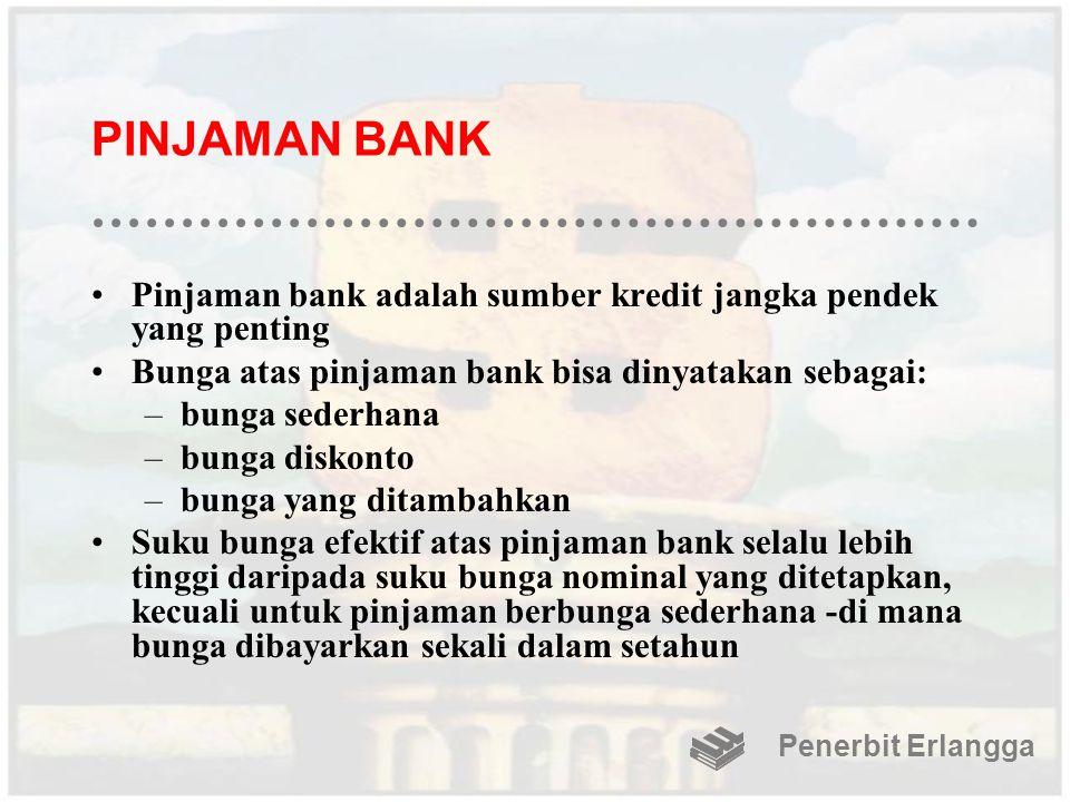 PINJAMAN BANK Pinjaman bank adalah sumber kredit jangka pendek yang penting Bunga atas pinjaman bank bisa dinyatakan sebagai: –bunga sederhana –bunga