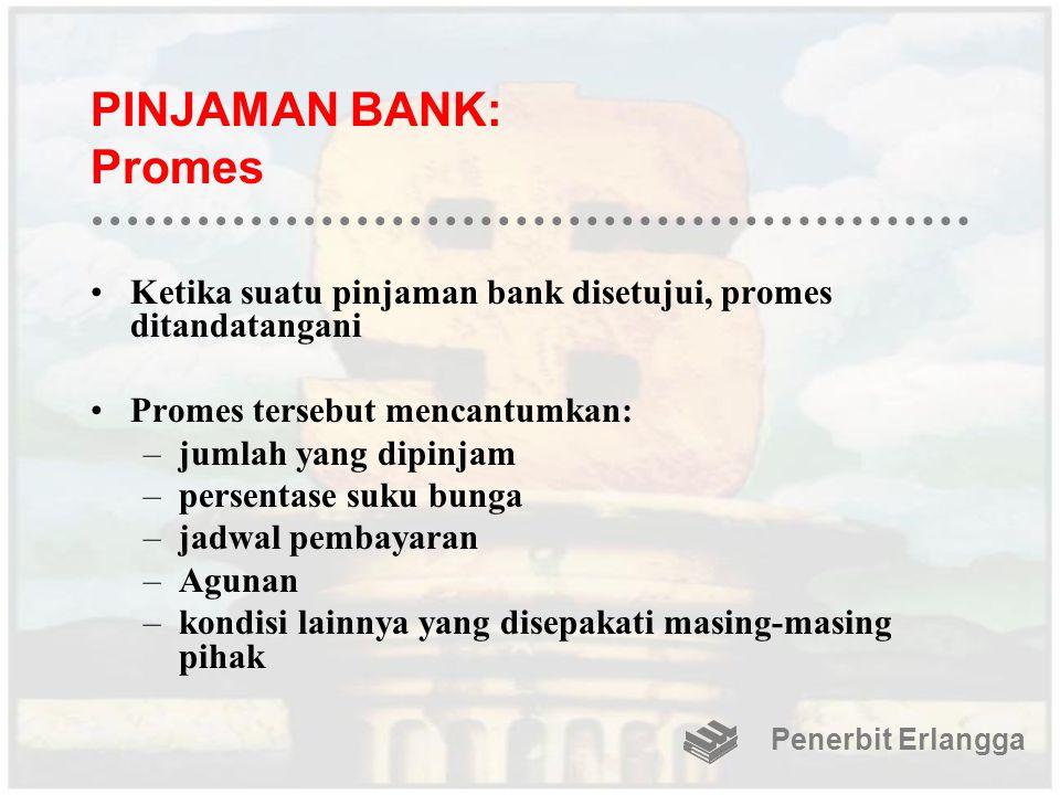 PINJAMAN BANK: Promes Ketika suatu pinjaman bank disetujui, promes ditandatangani Promes tersebut mencantumkan: –jumlah yang dipinjam –persentase suku