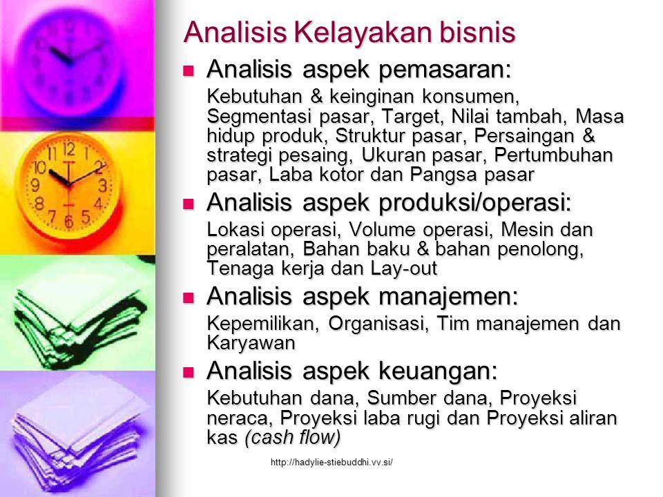 Analisis Kelayakan bisnis Analisis aspek pemasaran: Analisis aspek pemasaran: Kebutuhan & keinginan konsumen, Segmentasi pasar, Target, Nilai tambah,