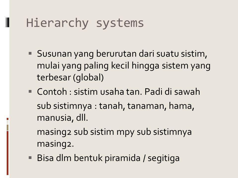 Hierarchy systems  Susunan yang berurutan dari suatu sistim, mulai yang paling kecil hingga sistem yang terbesar (global)  Contoh : sistim usaha tan.