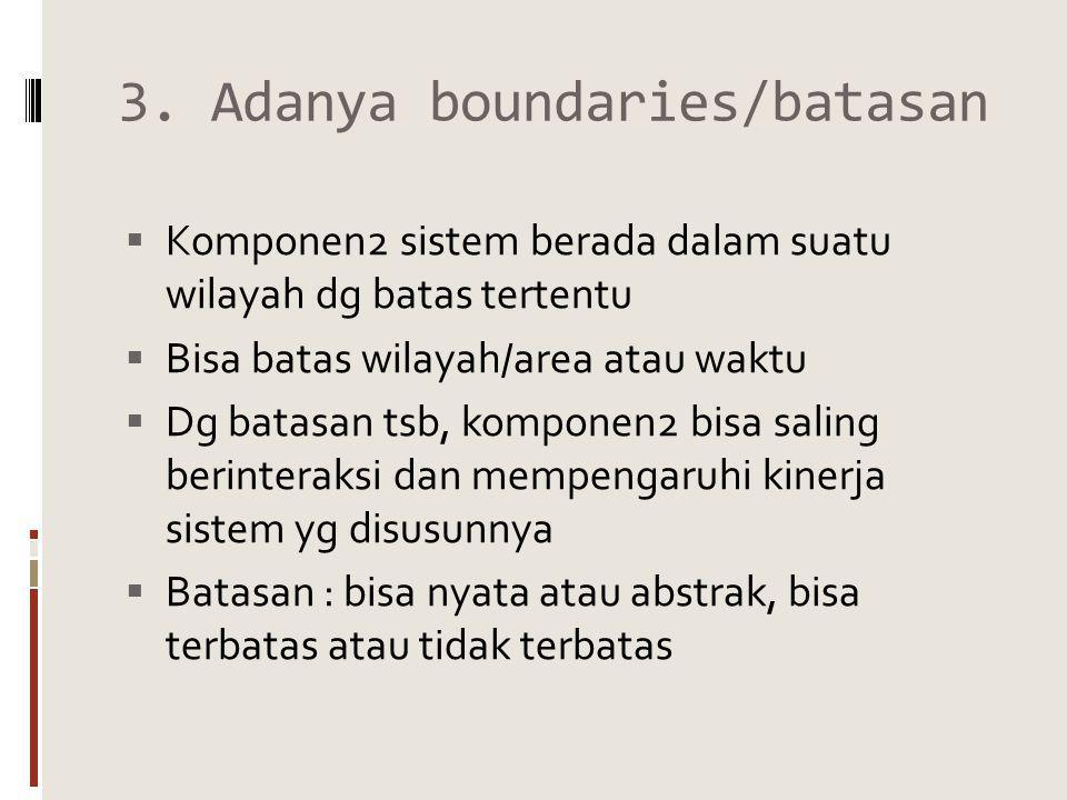 3. Adanya boundaries/batasan  Komponen2 sistem berada dalam suatu wilayah dg batas tertentu  Bisa batas wilayah/area atau waktu  Dg batasan tsb, ko