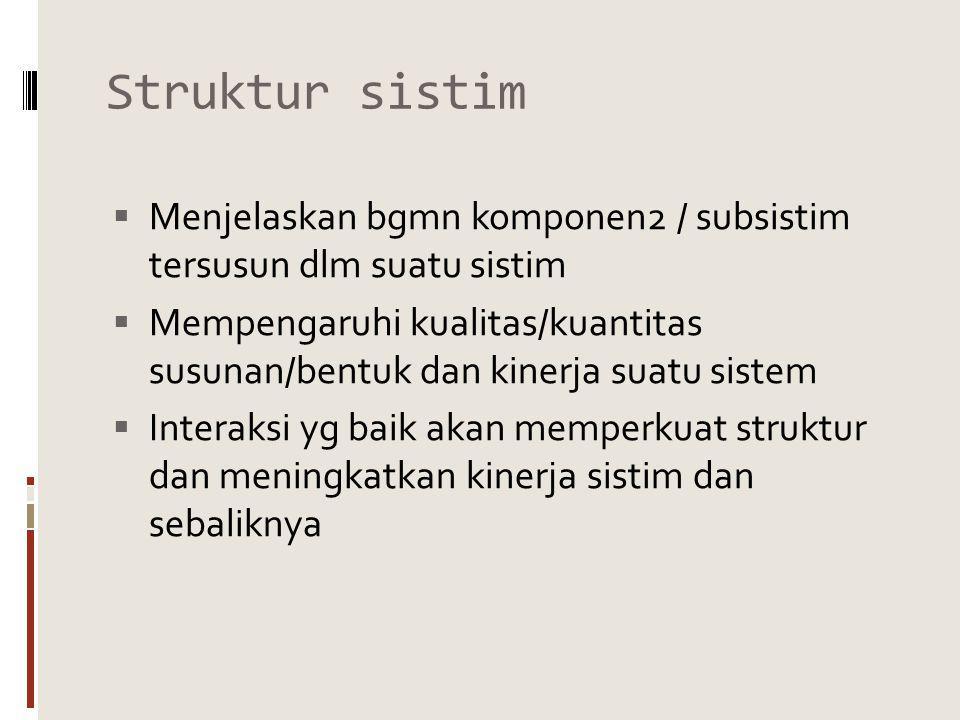 Struktur sistim  Menjelaskan bgmn komponen2 / subsistim tersusun dlm suatu sistim  Mempengaruhi kualitas/kuantitas susunan/bentuk dan kinerja suatu sistem  Interaksi yg baik akan memperkuat struktur dan meningkatkan kinerja sistim dan sebaliknya
