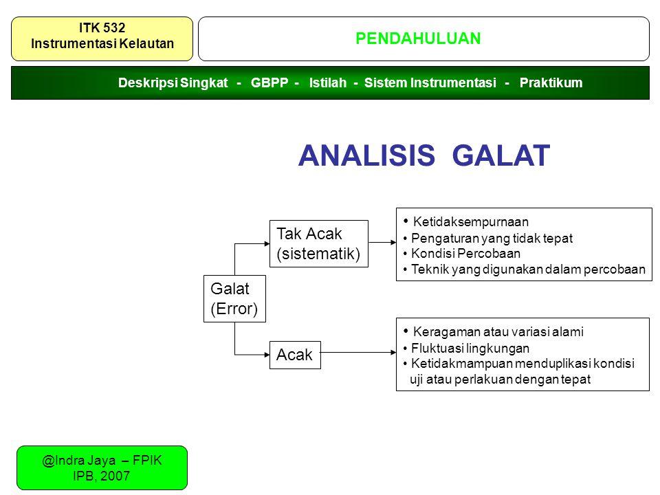 @Indra Jaya – FPIK IPB, 2007 SISTEMATIKA URAIAN PENDAHULUAN ITK 532 Instrumentasi Kelautan Galat (Error) Tak Acak (sistematik) Acak Ketidaksempurnaan