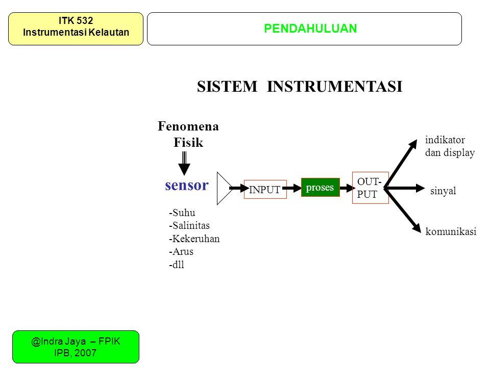 @Indra Jaya – FPIK IPB, 2007 SISTEMATIKA URAIAN PENDAHULUAN ITK 532 Instrumentasi Kelautan SISTEM INSTRUMENTASI INPUT proses OUT- PUT indikator dan di