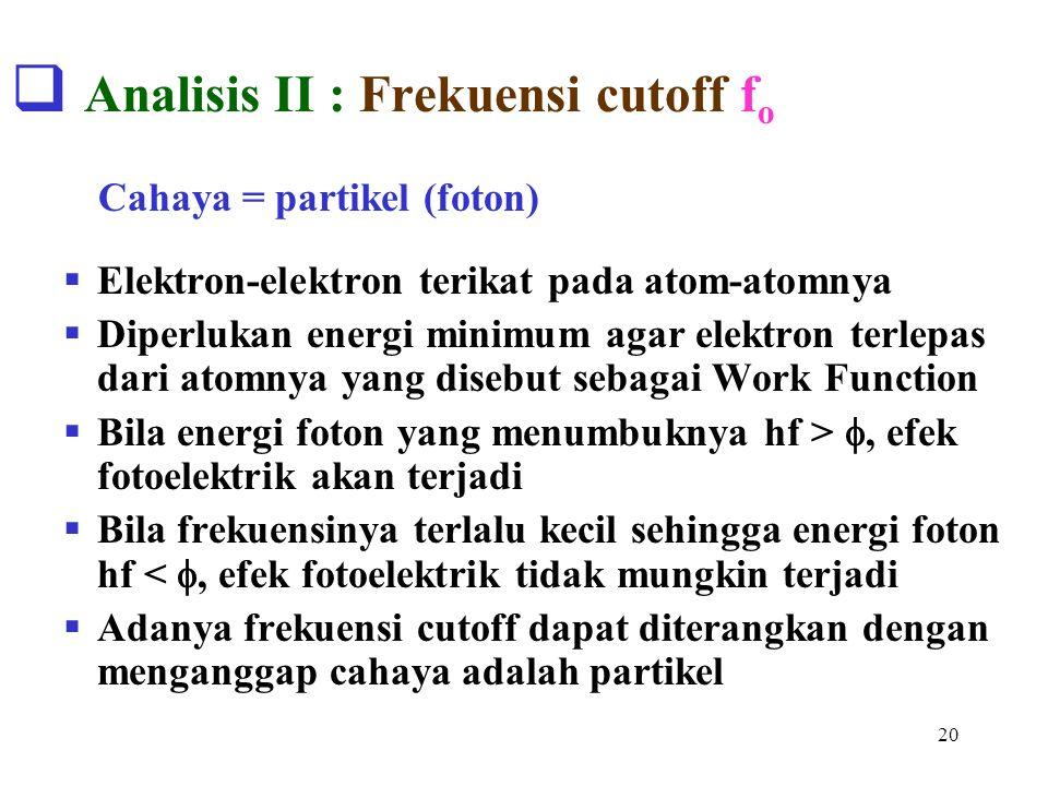 20  Analisis II : Frekuensi cutoff f o  Elektron-elektron terikat pada atom-atomnya  Diperlukan energi minimum agar elektron terlepas dari atomnya