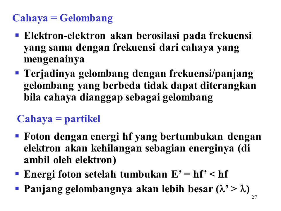 27  Elektron-elektron akan berosilasi pada frekuensi yang sama dengan frekuensi dari cahaya yang mengenainya  Terjadinya gelombang dengan frekuensi/
