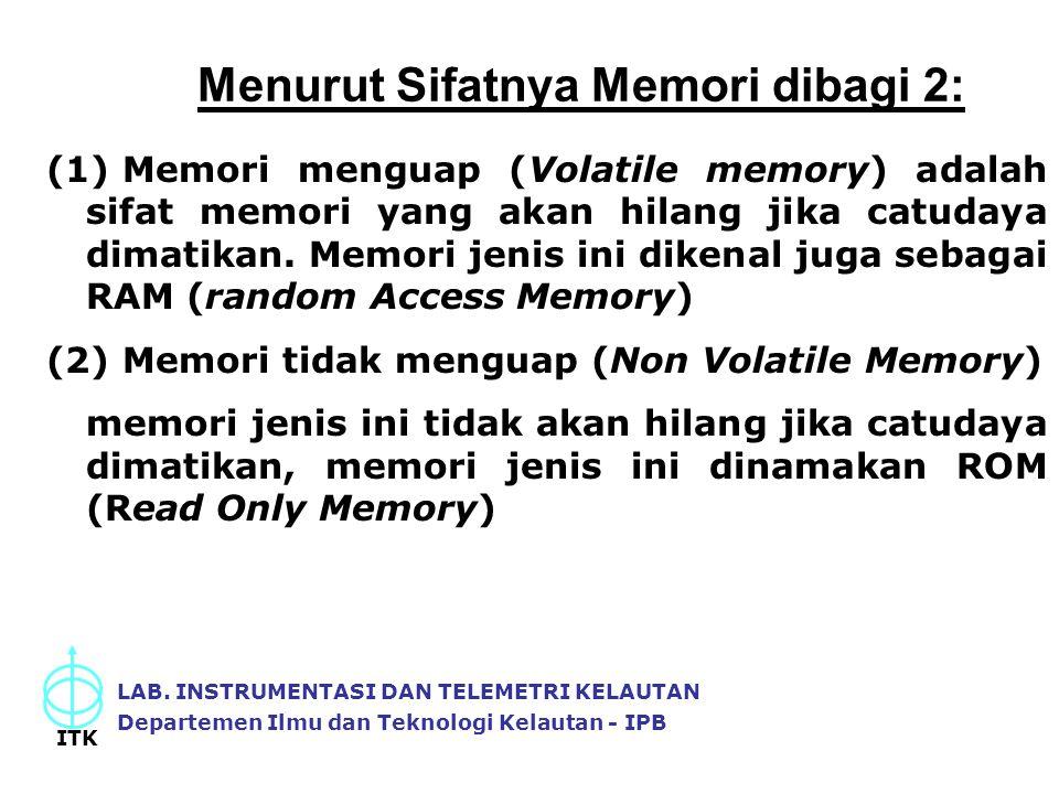 Menurut Sifatnya Memori dibagi 2: (1) Memori menguap (Volatile memory) adalah sifat memori yang akan hilang jika catudaya dimatikan. Memori jenis ini