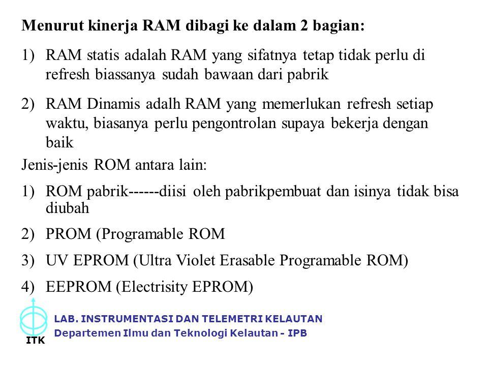 Menurut kinerja RAM dibagi ke dalam 2 bagian: 1)RAM statis adalah RAM yang sifatnya tetap tidak perlu di refresh biassanya sudah bawaan dari pabrik 2)
